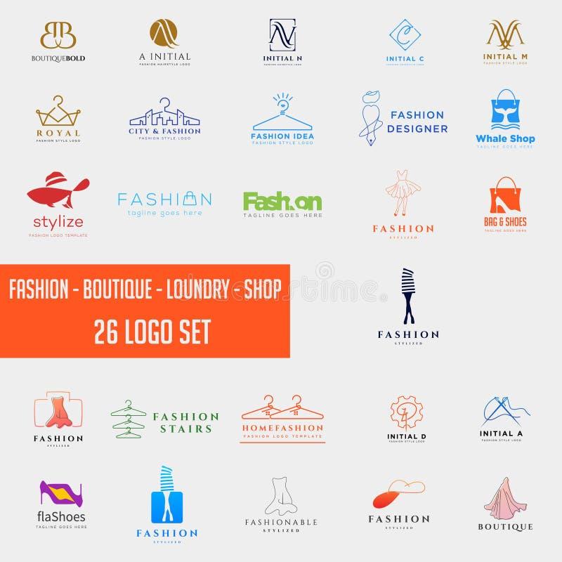modo che shoping l'elemento semplice dell'icona dell'illustrazione di vettore del modello dell'insieme della raccolta di logo immagine stock libera da diritti