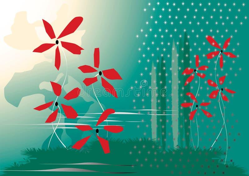 Modo da água verde e vermelha ilustração do vetor