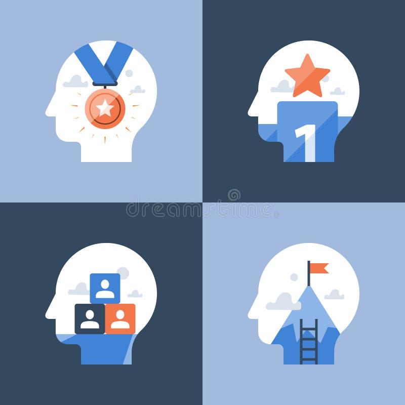 Modo de pensar del logro, premio del ganador de la competencia, realización acertada, incentivo y programa de la motivación libre illustration