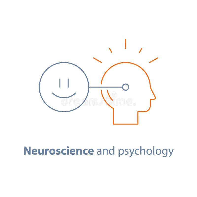 Modo de pensar positivo, conexión mental, concepto emocional de la inteligencia, neurología y psicología, icono del vector ilustración del vector