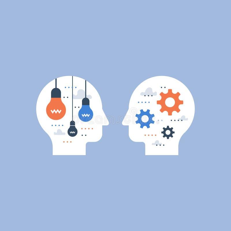 Modo de pensar positivo, pensamiento creativo, desarrollo de la creatividad, soluci?n del dise?o, inspiraci?n y motivaci?n stock de ilustración