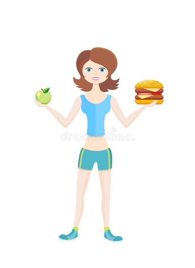 Modo de vida saudável da dieta do esporte ilustração do vetor