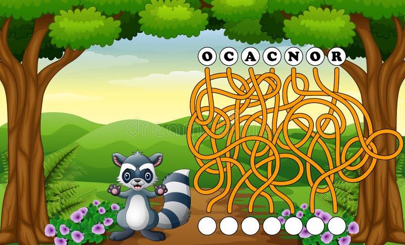 Modo del ritrovamento del labirinto del procione del gioco alla parola illustrazione di stock