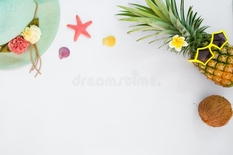 Modo dell'ananas dei pantaloni a vita bassa con frutta tropicale, il cappello di paglia, le conchiglie e le stelle marine fotografie stock libere da diritti