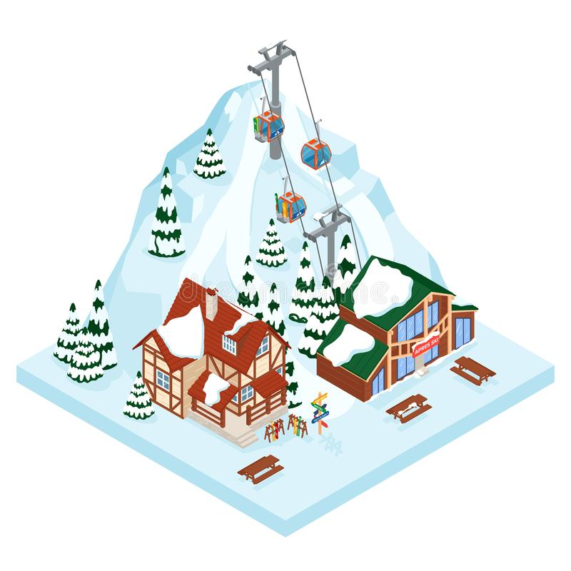 Modo della gondola di vacanza della stazione sciistica Sport all'aperto di attività di festa di inverno in alpi, nel paesaggio co illustrazione di stock