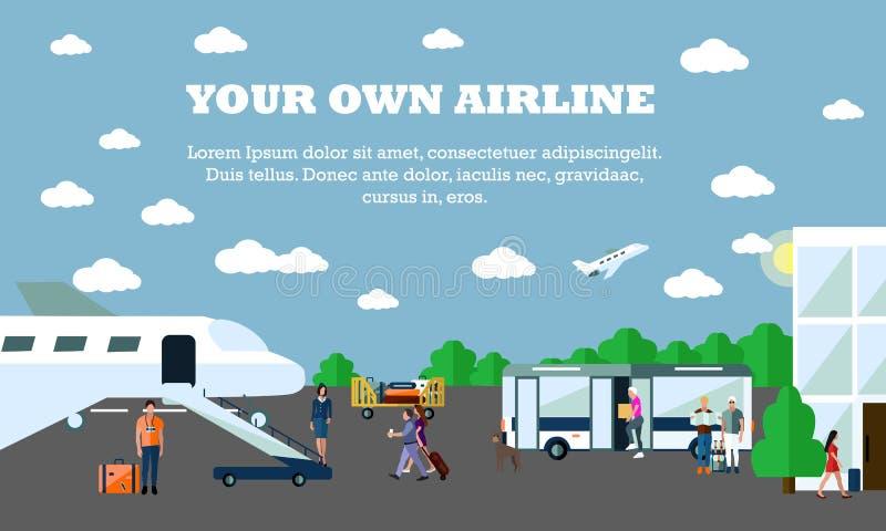 Modo di illustrazione di vettore di concetto di trasporto Insegna dell'aeroporto Elementi di progettazione nello stile piano tras illustrazione vettoriale