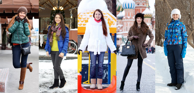 Modo di inverno del collage Giovani belle donne immagini stock libere da diritti