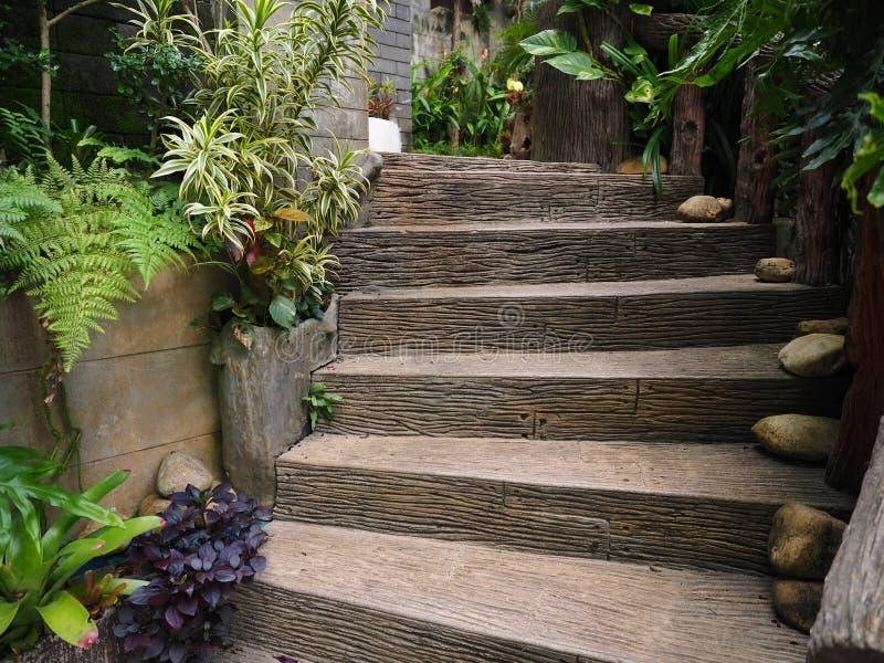 Modo di legno di pietra delle scale in giardino immagine for Modo 10 prezzi