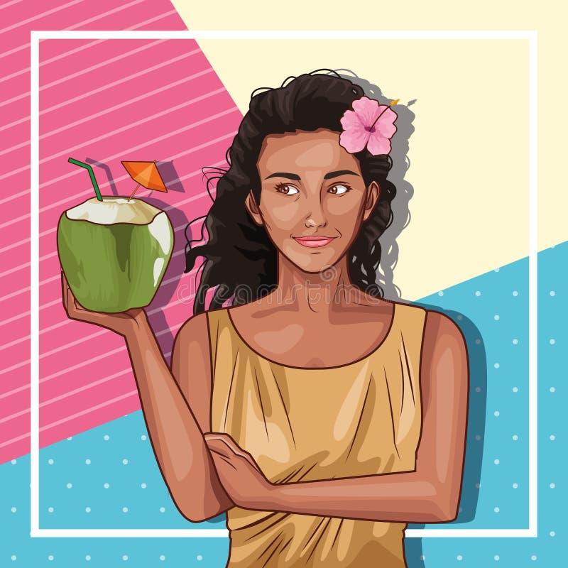 Retro Donna Di Afro Su Fondo Variopinto Illustrazione di ...