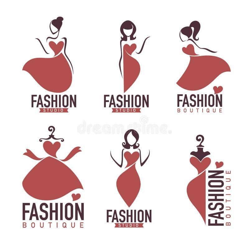 Modo e beautysalon, studio, logo del boutique illustrazione di stock