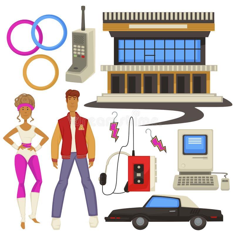modo e tecnologie di stile degli anni 80, simboli di epoca, uomo e donna royalty illustrazione gratis