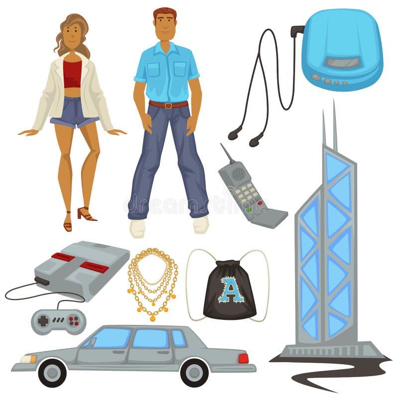 modo e tecnologie di stile degli anni 90, simboli di epoca, uomo e donna illustrazione di stock