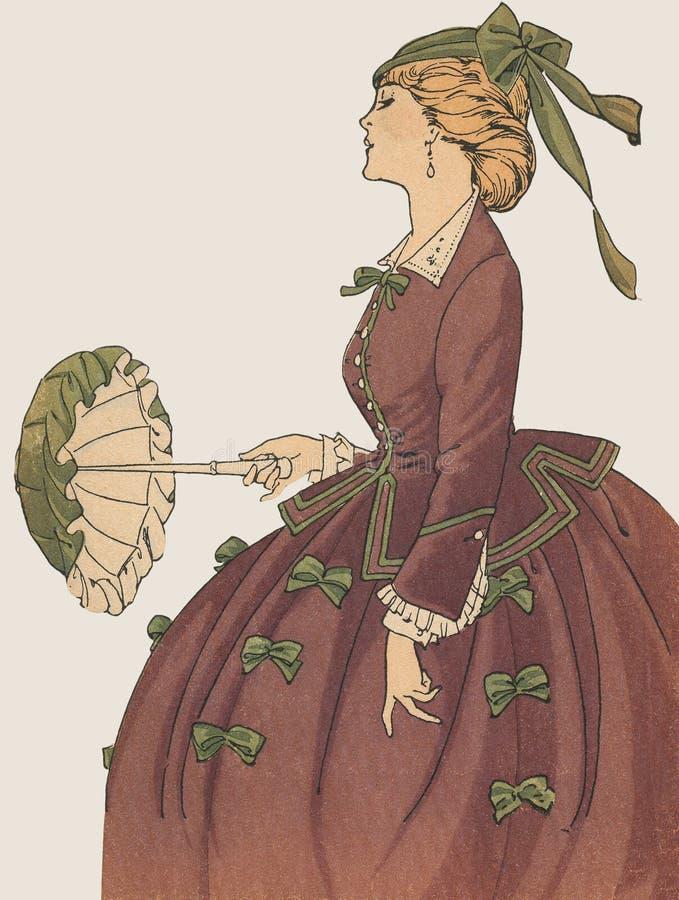 Modo francese antico della La della zolla di modo femminile royalty illustrazione gratis