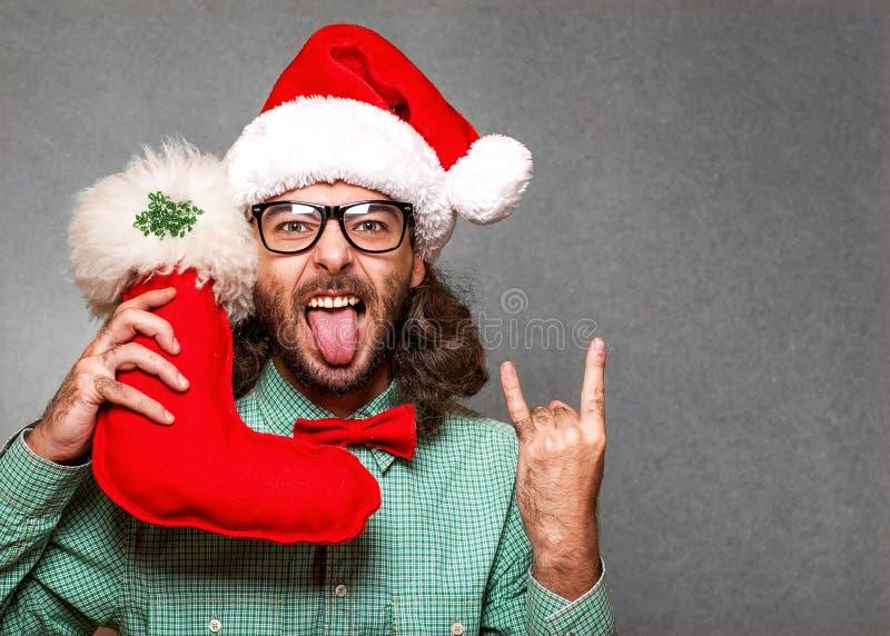 Modo pazzo il Babbo Natale fotografia stock