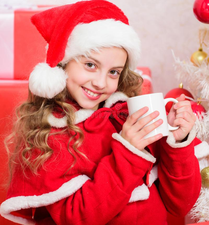 Modo perfetto riscaldarvi ferie Piccola tazza sveglia della tenuta del bambino della ragazza con la bevanda calda mentre celebri  fotografia stock libera da diritti