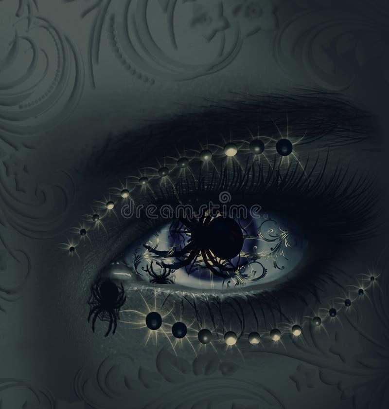 Modo ruim Arte-olho na arte-cara ilustração stock