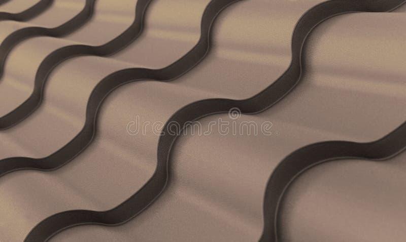 Modo scuro ondulato impressionante strutturale della smussatura delle mattonelle del metallo di Brown fotografia stock libera da diritti