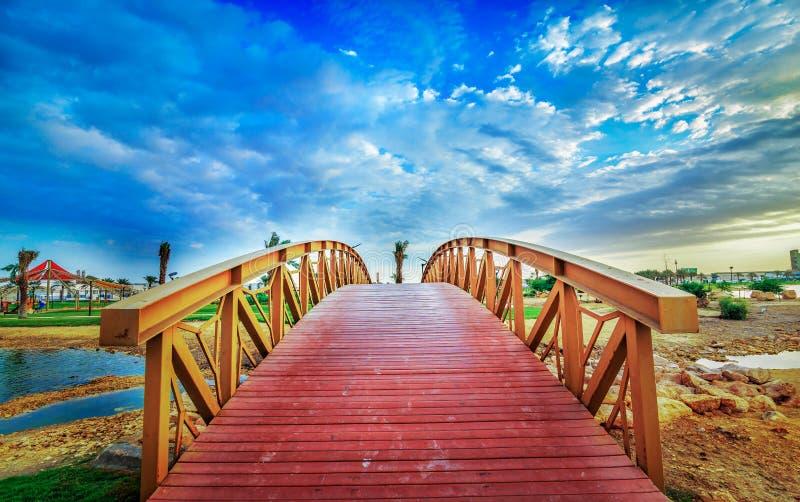 Modon lake Park-Dammam Saudi Arabia. Beautiful Modon lake Park wooden stairs view -Dammam Saudi Arabia royalty free stock images
