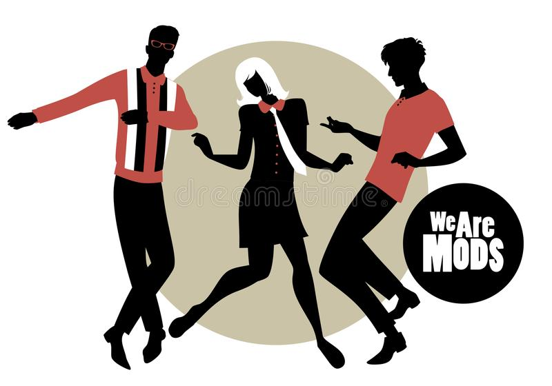 We are Mods. Silhouettes of two guys and girl wearing retro clothes in the 1960s Mod style dancin vector illustration
