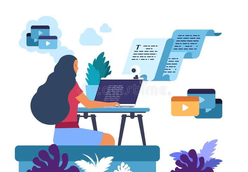 Moduł zapisujący zawartość Autor artykułów medialnych i internetowych, pisarz, kopiarka blogów i twórca treści Wektor ilustracja wektor