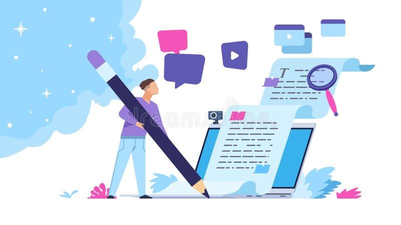 Moduł zapisujący zawartość Koncepcja tworzenia artykułów na blogu z znakami osób, niezależną pracą biznesową i marketingiem Wekto ilustracja wektor