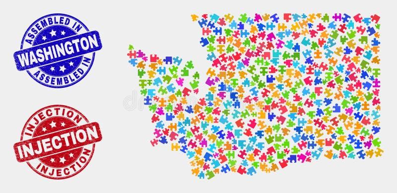 Modułu stan washington mapa, Grunge i zastrzyka znaczka foki Gromadzić ilustracja wektor