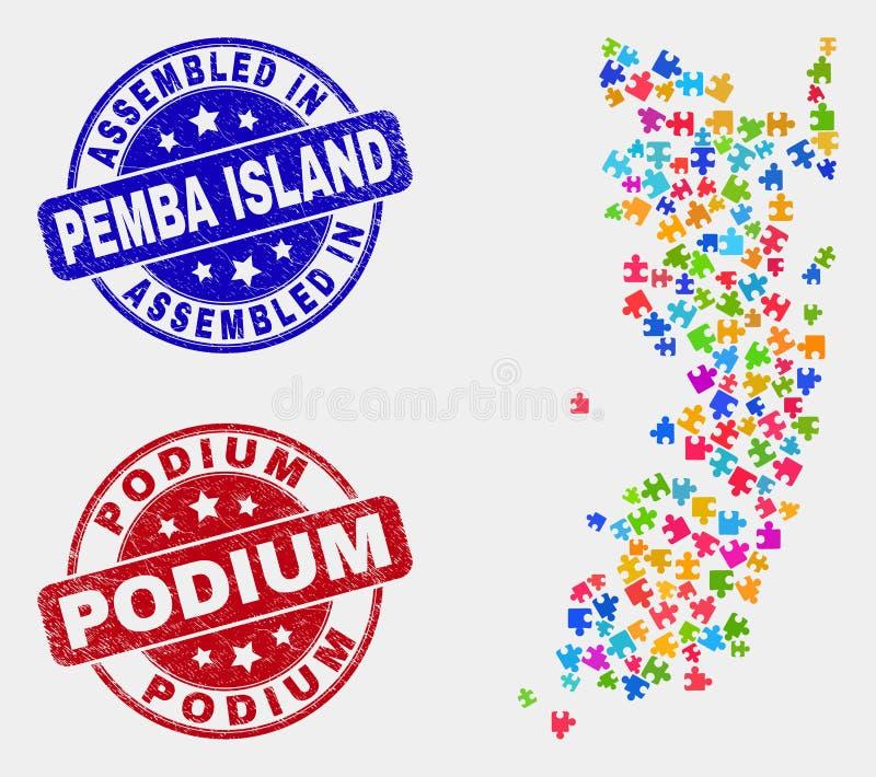Modul Pemba Island Map und Schmutz zusammengebaut und Podium-Wasserzeichen stock abbildung