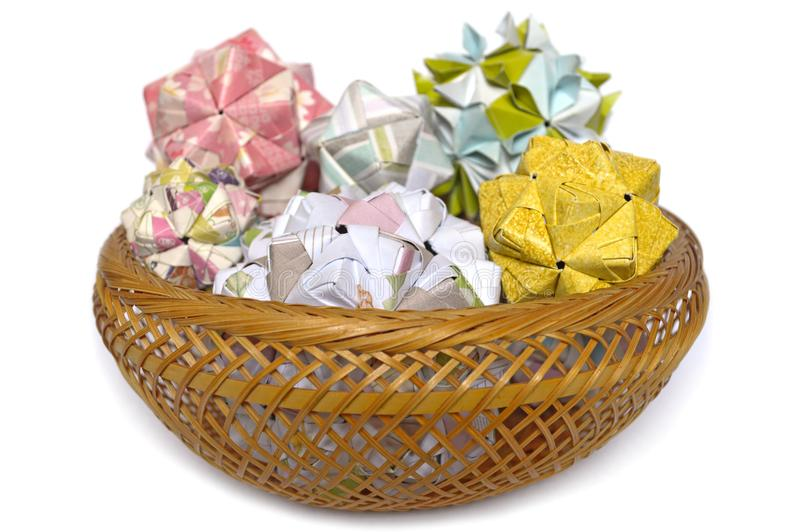 Modulaire origami, sonobe bal en kersenbloesem stock afbeelding