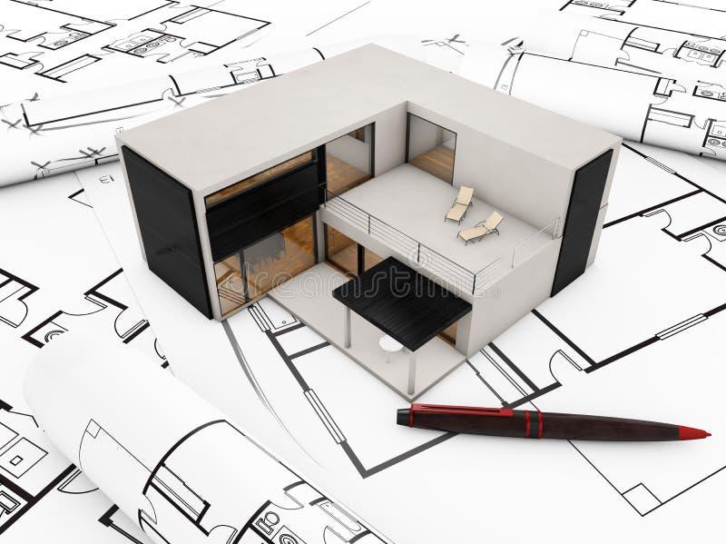 Modular building plan. Concept: modular building over plots stock illustration