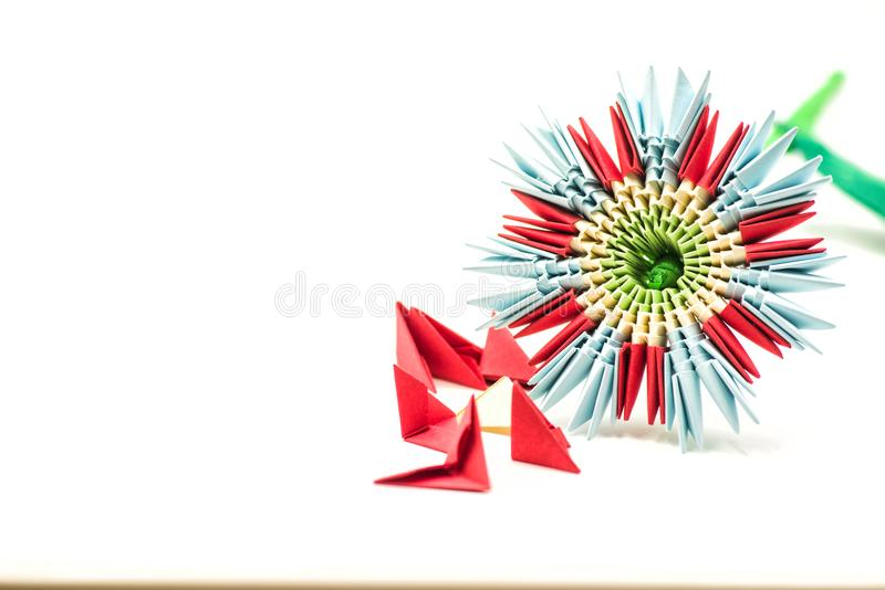 Modular origami flower with blocks isolated on white background royalty free stock photography