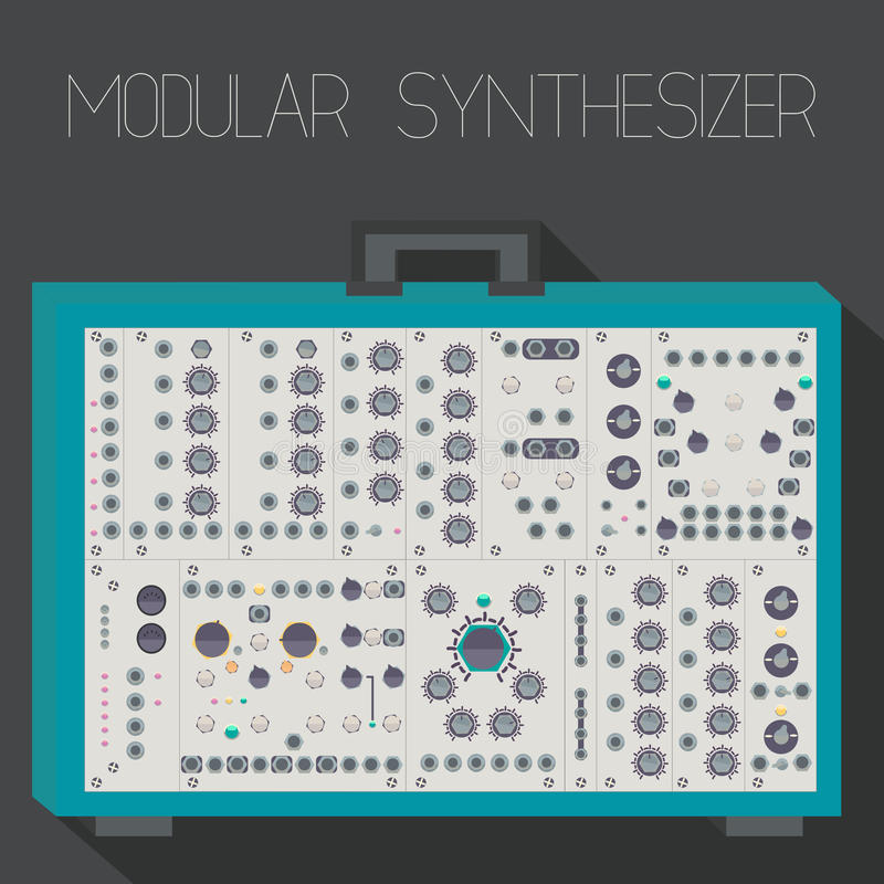 Modular synthesizer in suitcase format royalty free illustration