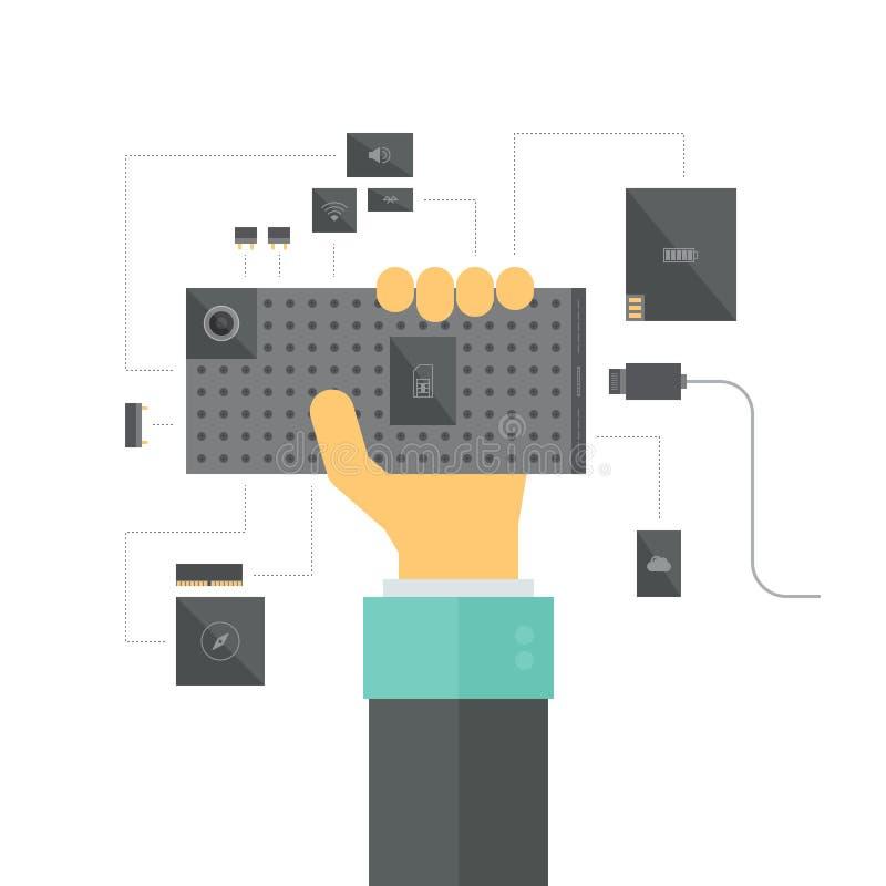 Modulare Smartphonekonzeptillustration stock abbildung