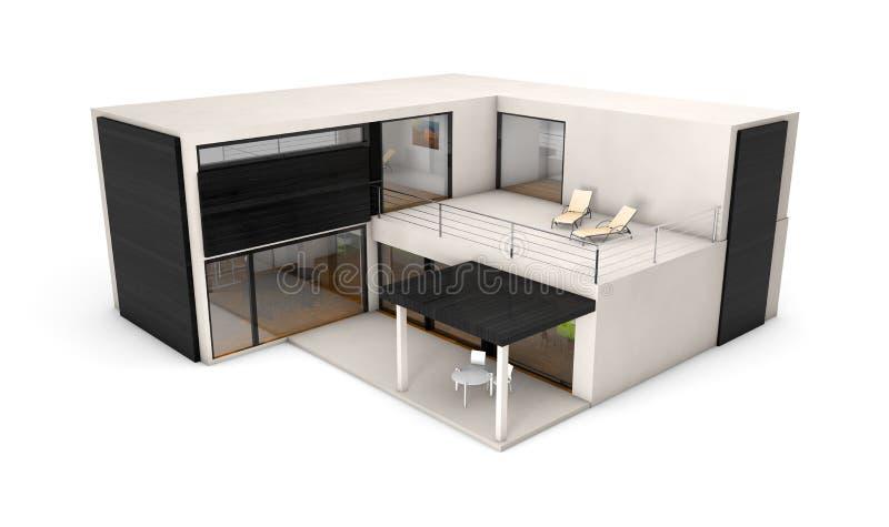 modulares haus stock abbildung illustration von terrasse 51794232. Black Bedroom Furniture Sets. Home Design Ideas