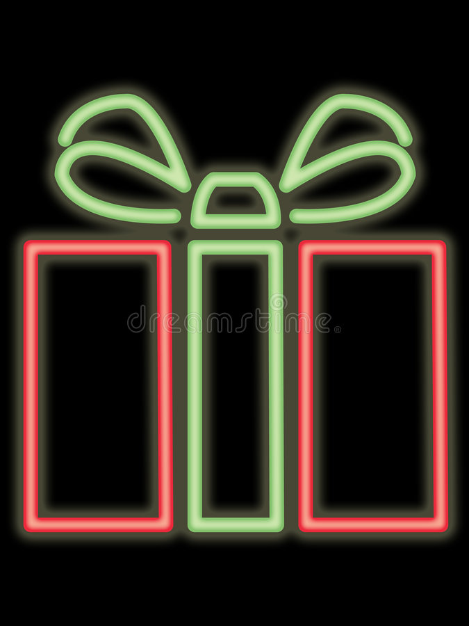 Module au néon de cadeau illustration de vecteur