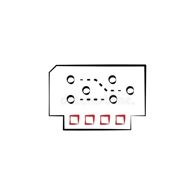 module 2 gekleurd hand getrokken pictogram De illustratie van het elektronika kleurenelement Overzichtsknopontwerp van elektronik royalty-vrije illustratie