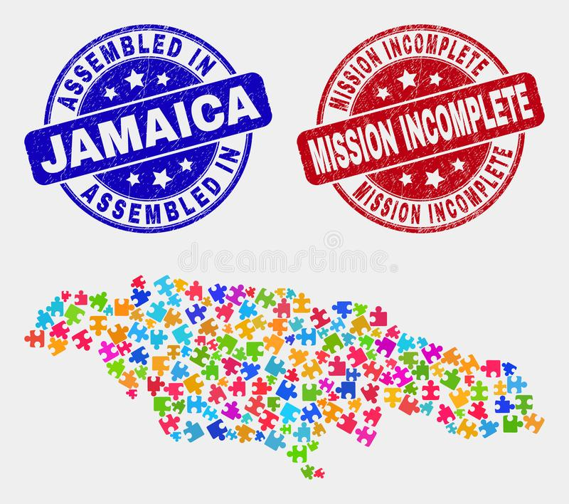 Module Jamaica Map and Scratched Assembled and Mission Incomplete Watermarks. Component Jamaica map and blue Assembled stamp, and Mission Incomplete distress stock illustration