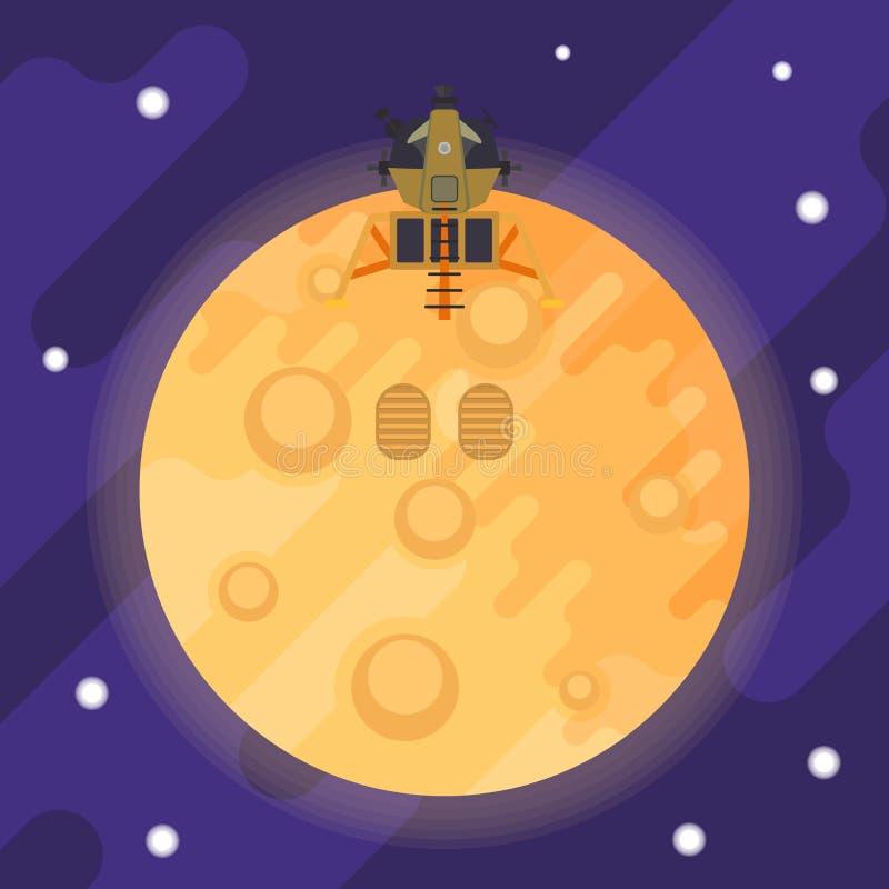 Module lunaire et empreintes de pas du premier homme sur la lune Illustration plate de vecteur illustration libre de droits