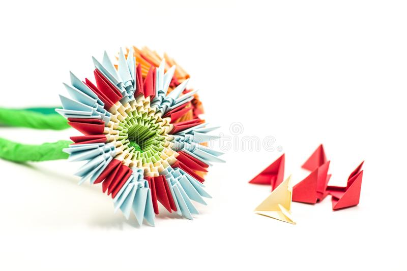 Modular origami flower with blocks isolated on white background royalty free stock photos