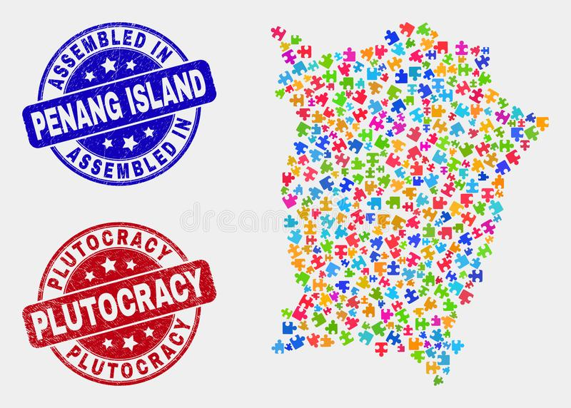 Module Penang Island Map and Scratched Assembled and Plutocracy Stamps. Module Penang Island map and blue Assembled seal stamp, and Plutocracy distress seal royalty free illustration