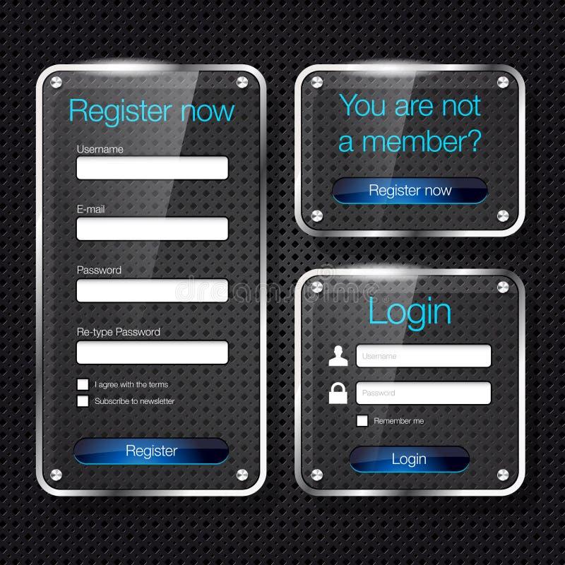 Moduli di Web di vetro di registro e di collegamento royalty illustrazione gratis