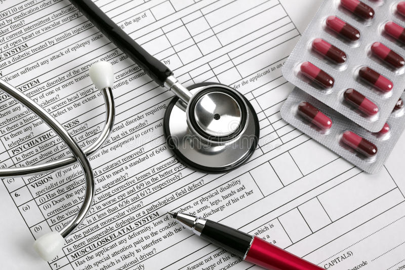 Modulo dell'esame medico fotografia stock libera da diritti