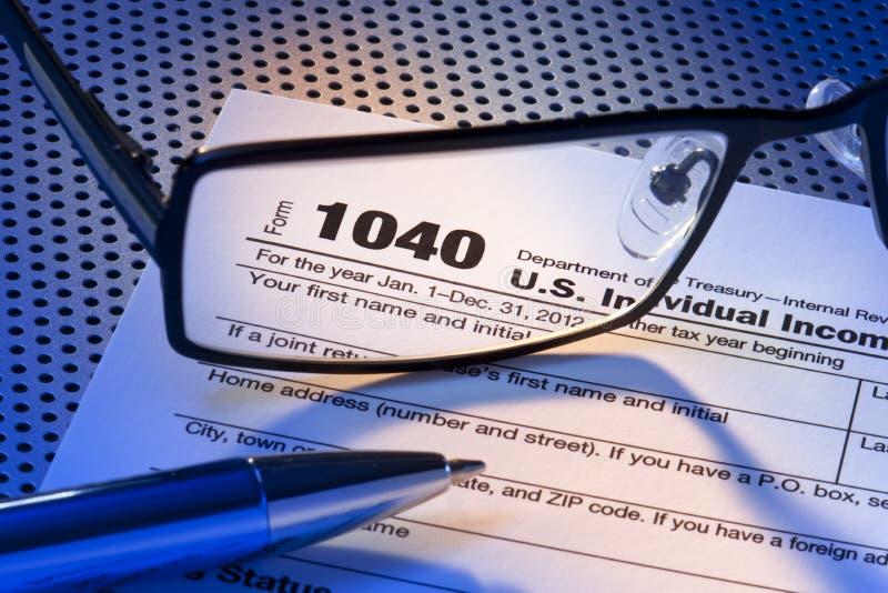 Modulo di dichiarazione dei redditi di IRS 1040 fotografie stock libere da diritti