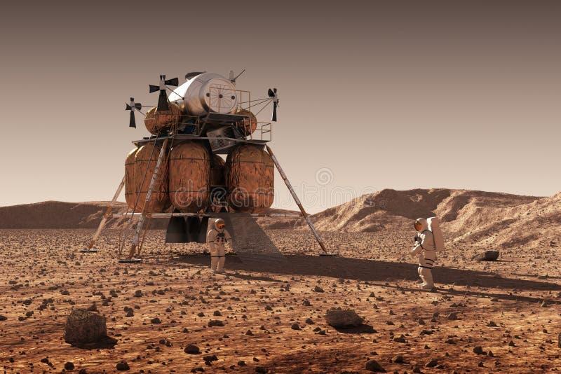 Modulo di discesa della stazione spaziale interplanetaria ed astronauti su superficie del pianeta Marte royalty illustrazione gratis