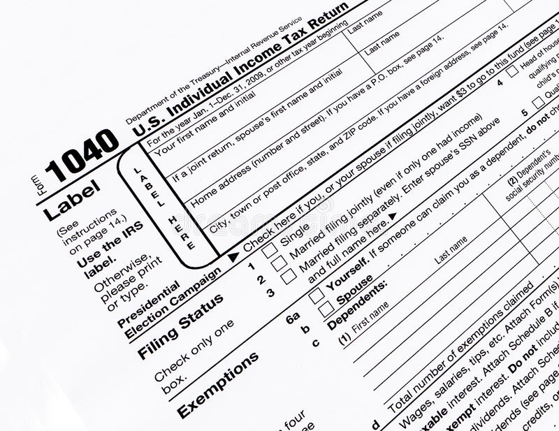 Modulo di imposta degli Stati Uniti 1040 immagini stock