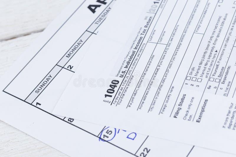 modulo di imposta 1040 Forma di ritorno dell'imposta sul reddito delle persone fisiche degli Stati Uniti fotografie stock