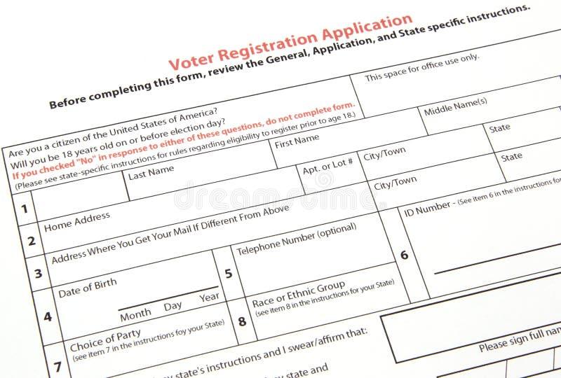 Modulo di iscrizione degli'elettori immagine stock