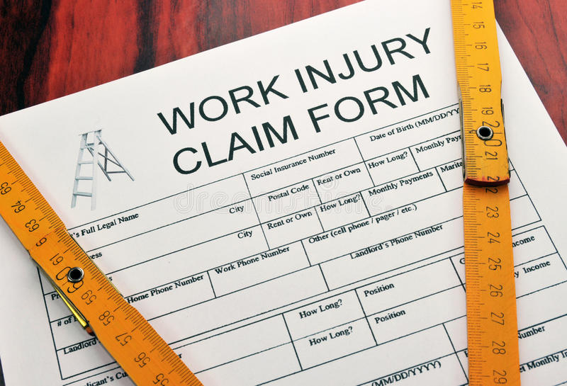 Modulo di reclamo di ferita di lavoro immagine stock