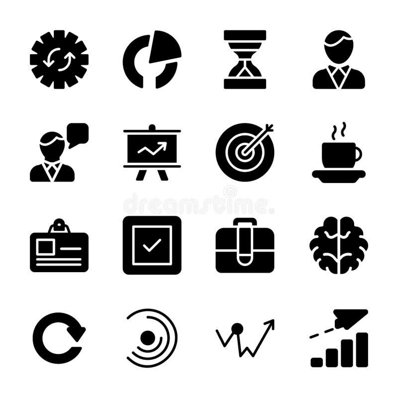 Modulo, rilascio di prodotto, icone di glifo di presentazione illustrazione vettoriale