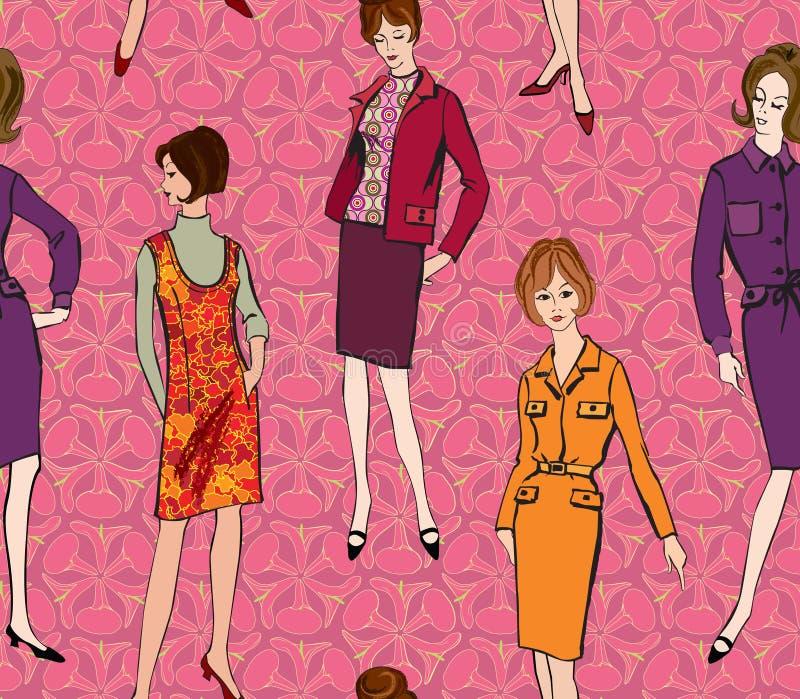 Mody bezszwowy tło. 1960s styl ilustracja wektor