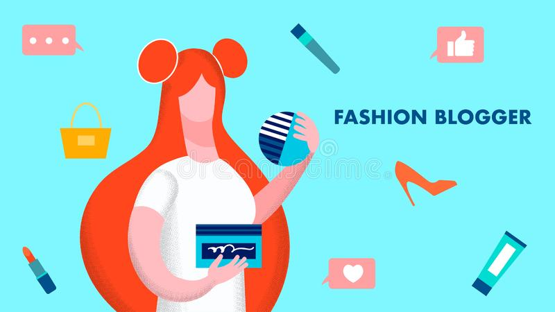 Mody Blogger modela P?aska Wektorowa ilustracja ilustracja wektor